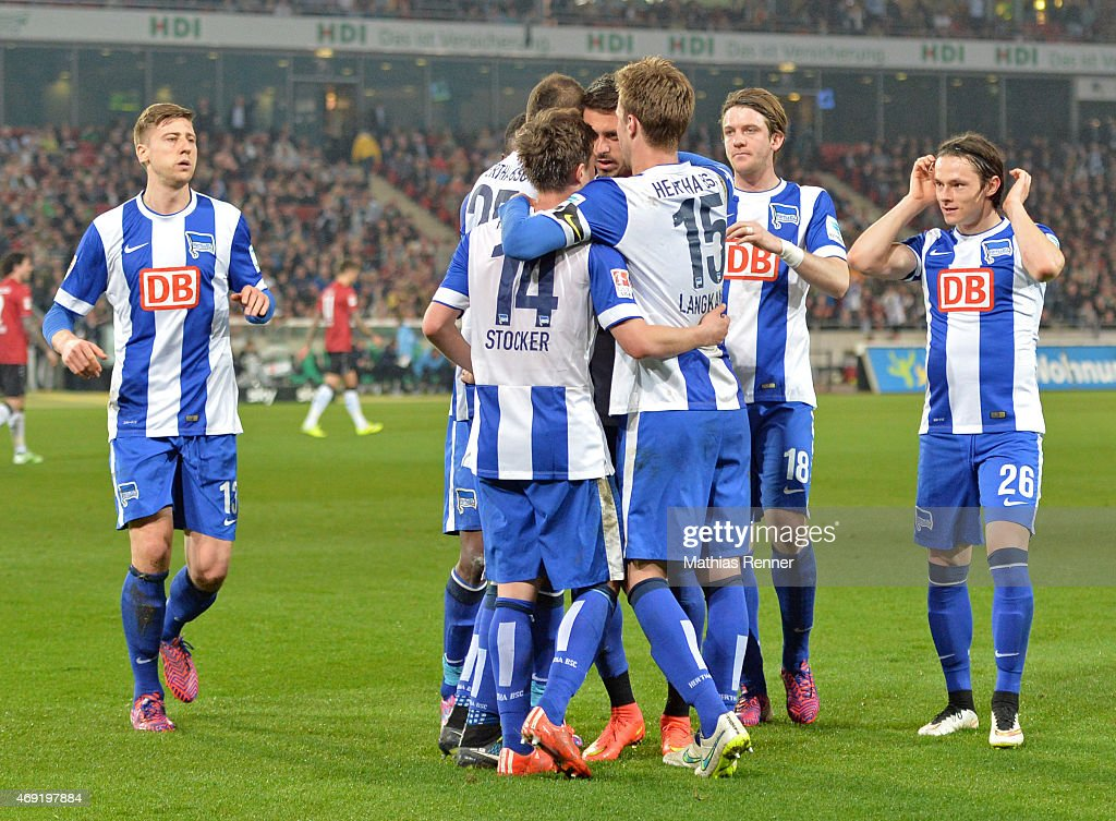 The Hertha team celebrates after scoring the 1:1 during the Bundesliga match between Hannover 96 and Hertha BSC on April 10, 2015 in Hannover, Germany.