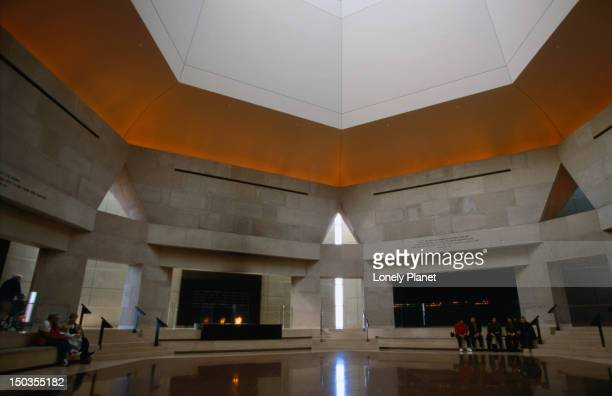 The hexagonal Hall of Remembrance in Washington DC's Holocaust Memorial and Museum. The halls shape symbolises both the Star of David and the six million Jews who died in the Holocaust.