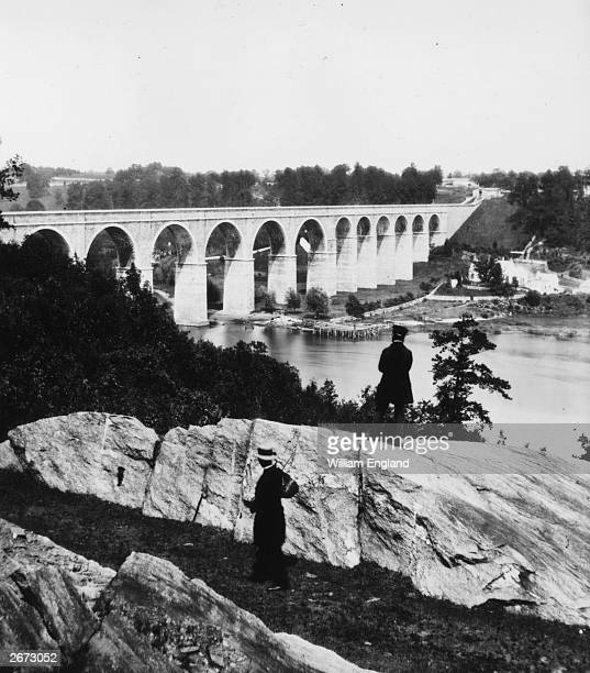 The High Bridge over the Harlem River New York Designed by American engineer John B Jervis as part of the Croton Aqueduct carrying water to New York...