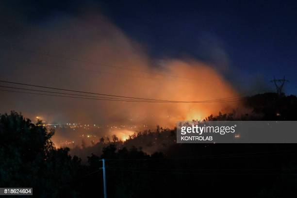 The high flames burning in the hills during a vast fire that threatened the areas inhabited between Naples and Campi Flegrei throughout the day