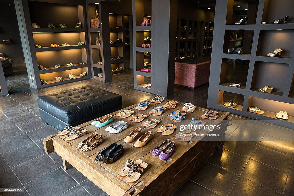 The high heels and flat shoes collection are seen in display at Niluh Djelantik store on November 12, 2013 in Seminyak, Bali, Indonesia. Niluh Djelantik (formerly called Nilou), the hand made high end leather shoe, is produced by Balinese shoe lover and designer Ni Luh Ayu Pertami with 40 shoes designers and workers in a small atelier at Canggu Village. This brand signature by a unique engraving and designed to be comfortable high heels or wedges with elegan touch. Celebrities like Cate Blanchett, Uma Thurman,Julia Roberts ,Paris Hilton, Cameron Diaz and American top model Gisele Bundchen have been known to purchase Niluh Djelantik beautiful shoes and sandals.