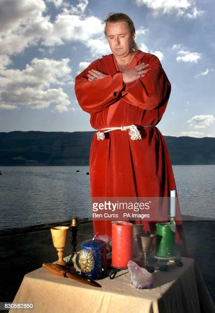 The High Priest of British White Witches Kevin Carlyon from Hastings East Sussex casts a spell to protect the fabled Loch Ness monster at the lake as...