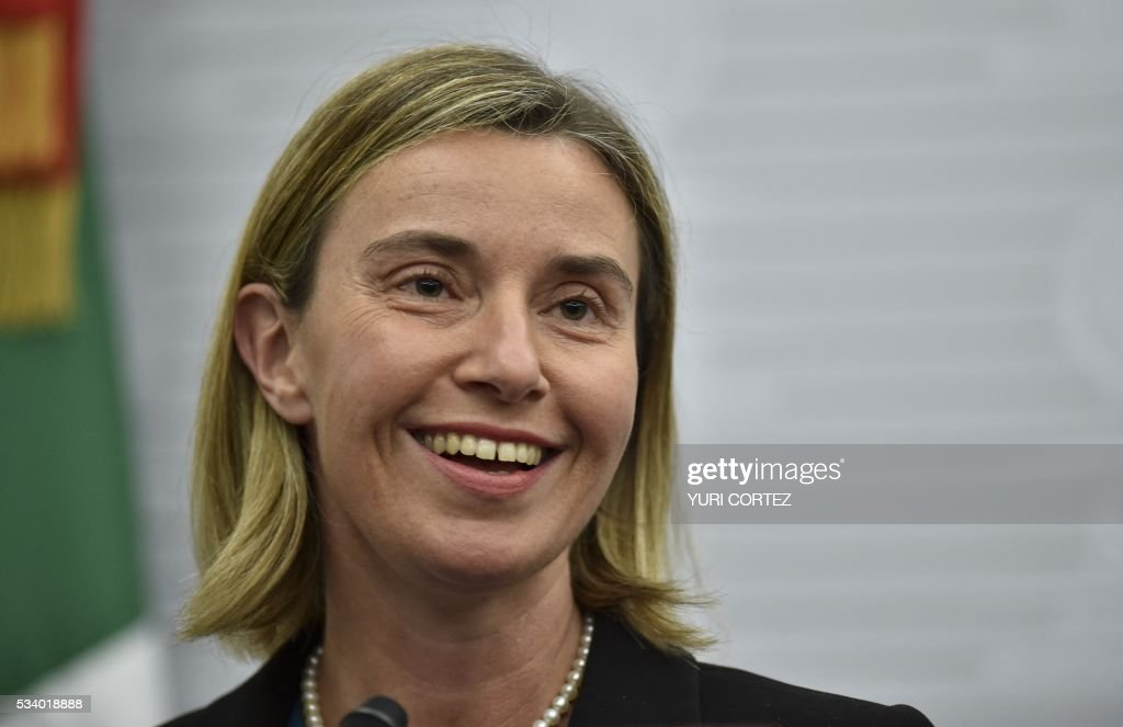 The High Representative of the European Union (EU) for Foreign Affairs and Security Policy, Federica Mogherini, offers a press conference at the Foreign Ministry in Mexico City on May 24, 2016. Mogherini is on a two-day visit to Mexico. / AFP / YURI