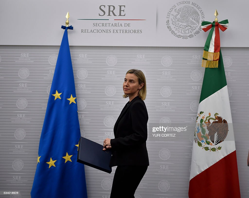 The High Representative of the European Union (EU) for Foreign Affairs and Security Policy, Federica Mogherini, arrives to offer a press conference at the Foreign Ministry in Mexico City on May 24, 2016. Mogherini is on a two-day visit to Mexico. / AFP / YURI