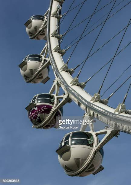 The High Roller observation Ferris wheel located at The Linq Hotel Casino is viewed on May 31 2017 in Las Vegas Nevada Tourism in America's 'Sin...