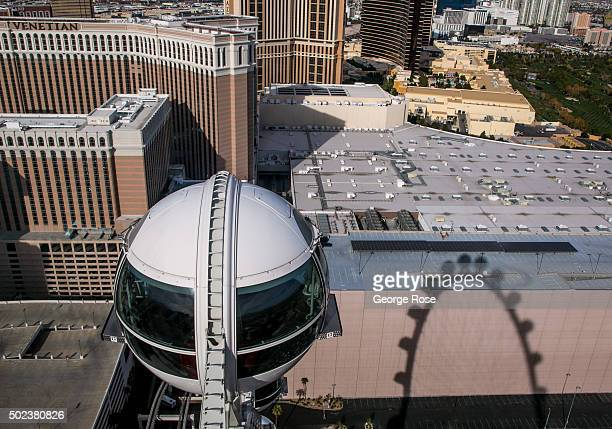 The High Roller the world's tallest Ferris wheel is viewed on December 7 2015 in Las Vegas Nevada Tourism in America's 'Sin City' has within the past...