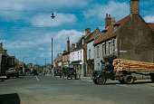 The High Street in Brandon Suffolk with Thetford Road on the right circa 1955