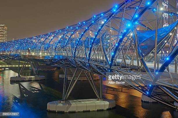 The High Tech Helix Bridge illuminated at night