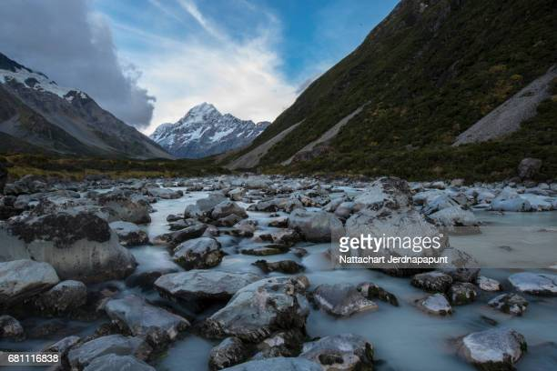 The highest peak in New zealand 'Mt. Cook' with blurred river foreground