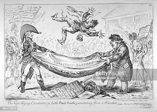 'The highflying candidate mounting from a blanket' 1806 View of the hustings in Covent Garden showing Sir Samuel Hood and Richard Sheridan tossing...