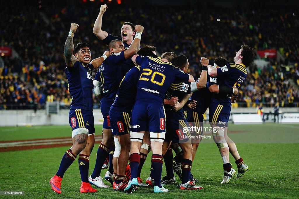 The Highlanders celebrate after winning the Super Rugby Final match between the Hurricanes and the Highlanders at Westpac Stadium on July 4 2015 in...