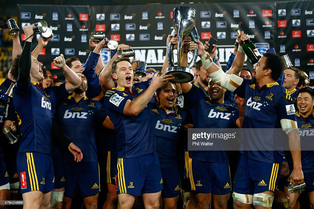 The Highlanders celebrate following the Super Rugby Final match between the Hurricanes and the Highlanders at Westpac Stadium on July 4 2015 in...