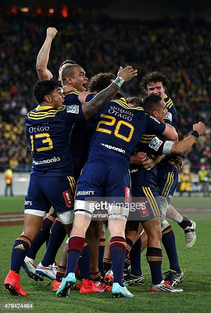 The Highlanders celebrate winning the Super Rugby Final match between the Hurricanes and the Highlanders at Westpac Stadium on July 4 2015 in...