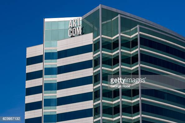 The highrise office of Artcom located along Highway 101 across the Bay from San Francisco is viewed on November 3 near Emeryville California After a...
