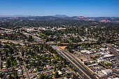 The Highway 101 freeway is viewed from the air as it passes through downtown on June 22 over Santa Rosa California Growth has become a major...