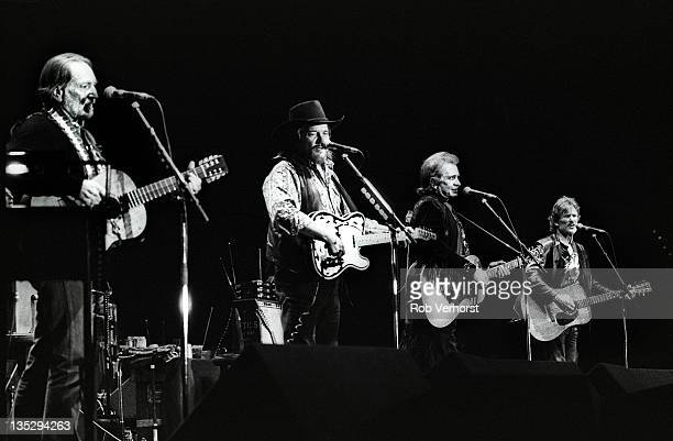 The Highwaymen perform on stage LR Willie Nelson Waylon Jennings Johnny Cash and Kris Kristofferson Ahoy Rotterdam 20th April 1992