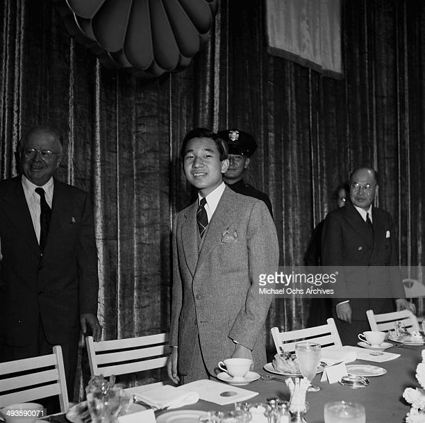 LOS ANGELES CALIFORNIA SEPTEMBER 30 1953 The HIH Crown Prince Akihito during the MGM party in Los Angeles California