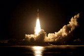 The HIIB rocket of the Japan Aerospace Exploration Agency lifts off from the launch pad at JAXA's Tanegashima Space Center on August 4 2013 in...