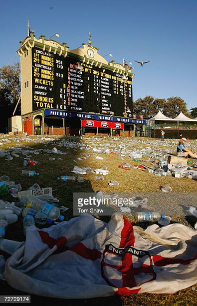 The hill in front of the scoreboard is near deserted at the end of play on day five of the second Ashes Test Match between Australia and England at...