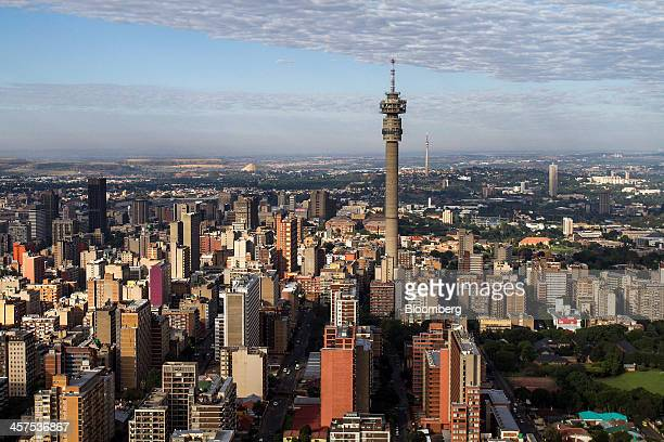 The Hillbrow Telkom tower stands amongst commercial and residential property on the city skyline in this aerial view of Johannesburg South Africa on...