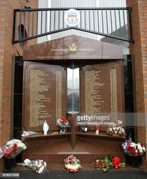 The Hillsborough Memorial preceeding the fifteen year anniversary stands in the tribute to those 96 fans who lost their lives during the FA Cup...
