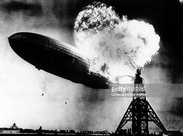 The Hindenburg a large German commercial passengercarrying rigid airship destroyed by fire on May 6 at the end of the first North American...