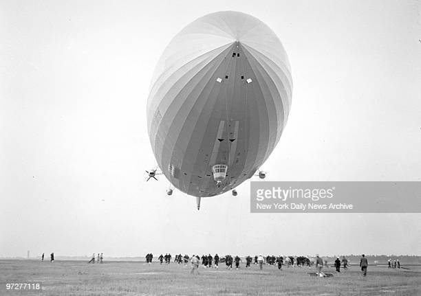 The Hindenburg dirigible attempting to land at Lakehurst NJ