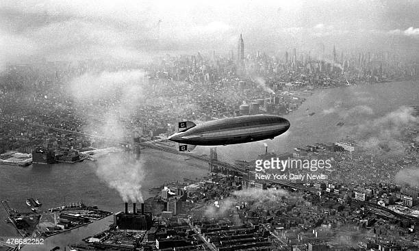 The Hindenburg dirigible lazily floats down Brooklyn toward the mooring mast moments before explosion The LZ 129 Hindenburg as it attempted to dock...