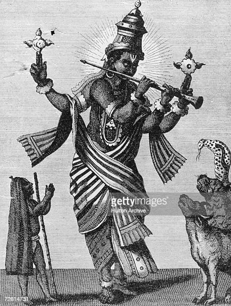The Hindu deity Vishnu in his eighth incarnation as Krishna charming all nature with music from his flute Engraving circa 1900