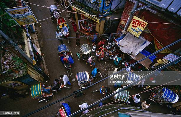 The Hindu quarter of Old Dhaka, Shankharia Bazaar, is clogged with rickshaw congestion
