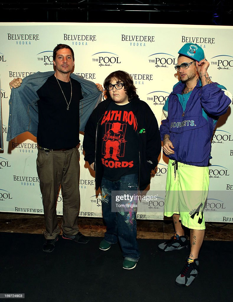 The Hip Hop group Three Loco (L to R) <a gi-track='captionPersonalityLinkClicked' href=/galleries/search?phrase=Simon+Rex&family=editorial&specificpeople=208653 ng-click='$event.stopPropagation()'>Simon Rex</a> (Dirt Nasty) (C) <a gi-track='captionPersonalityLinkClicked' href=/galleries/search?phrase=Andy+Milonakis&family=editorial&specificpeople=595538 ng-click='$event.stopPropagation()'>Andy Milonakis</a> and Jody Christian (Riff Raff) performed at The Pool After Dark, Harrah's Antic City on Friday January 18, 2013