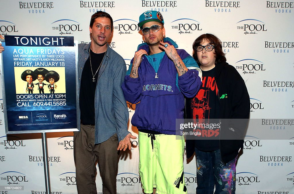 The Hip Hop group Three Loco (L to R) <a gi-track='captionPersonalityLinkClicked' href=/galleries/search?phrase=Simon+Rex&family=editorial&specificpeople=208653 ng-click='$event.stopPropagation()'>Simon Rex</a> (Dirt Nasty) (C) Jody Christian, and <a gi-track='captionPersonalityLinkClicked' href=/galleries/search?phrase=Andy+Milonakis&family=editorial&specificpeople=595538 ng-click='$event.stopPropagation()'>Andy Milonakis</a> (Riff Raff) performed at The Pool After Dark, Harrah's Antic City on Friday January 18, 2013.