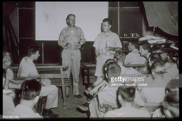 The Hiroshima atomic bomb crew at briefing just before the flight Colonel Tibbets stands on the right