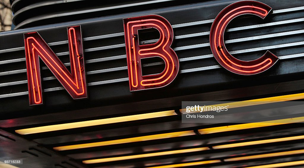 The historic Art Deco-style sign sits above the entrance to NBC Studios is seen December 3, 2009 in New York City. Comcast Corporation announced December 3 that it plans to buy a majority stake in NBC Universal for $13.75 billion in cash and assets.