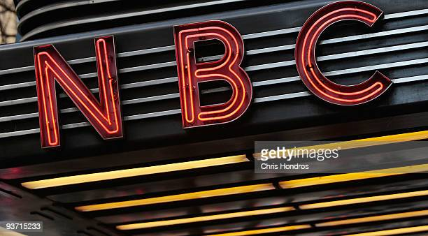 The historic Art Decostyle sign sits above the entrance to NBC Studios is seen December 3 2009 in New York City Comcast Corporation announced...
