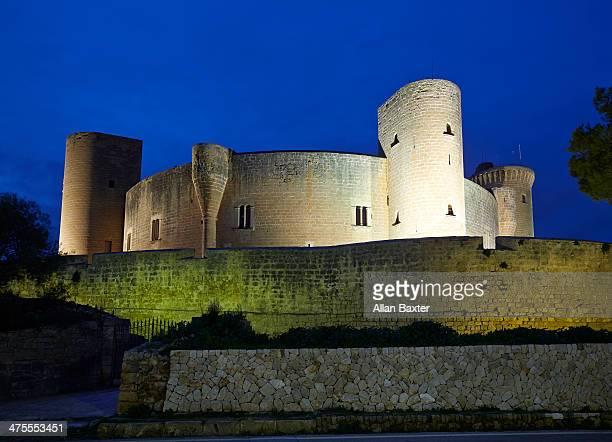 The historic Bellver castle illuminated at night