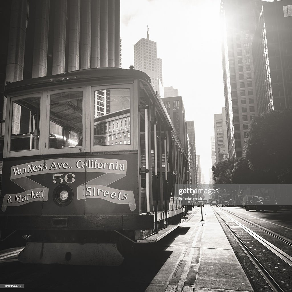 the historic cable car on san francisco city stock photo getty images. Black Bedroom Furniture Sets. Home Design Ideas