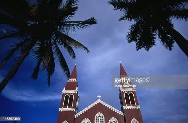 The historic landmark red church of Grecia.
