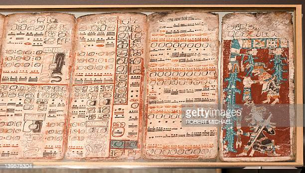 The historic Maya manuscript 'Codex Dresdensis' is displayed under glass at the museum attached to Saxony's federal library on February 22 2012 in...
