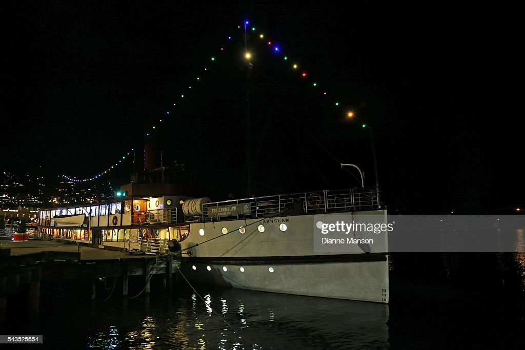 The historic TSS Earnslaw steamship is lit up for the Mistletoe cruise during the Queenstown Winter Festival on June 29, 2016 in Queenstown, New Zealand.