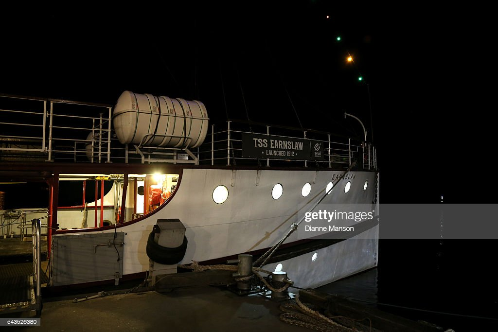 The historic TSS Earnslaw steamship's bow is lit up for the Mistletoe cruise during the Queenstown Winter Festival on June 29, 2016 in Queenstown, New Zealand.