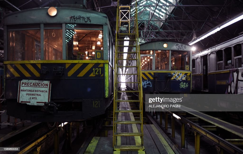 The historic wagons of La Brugeoise remain parked at the garage El Polvorin, in the neighborhood of Caballito, Buenos Aires on January 4, 2013. The Line A will be closed betwen January 12 and March 8 following a decision by Buenos Aires city Mayor Mauricio Macri to replace the fleet with Chinese-made wagons. Line A was the first subway line to work in the southern hemisphere and its trains are among the ten oldest still working daily. The La Brugeoise wagons were constructed between 1912 and 1919 by La Brugeoise et Nicaise et Delcuve in Belgium.