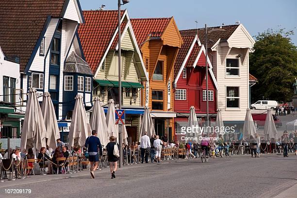 The historic wharf warehouses of Stavanger, Norway