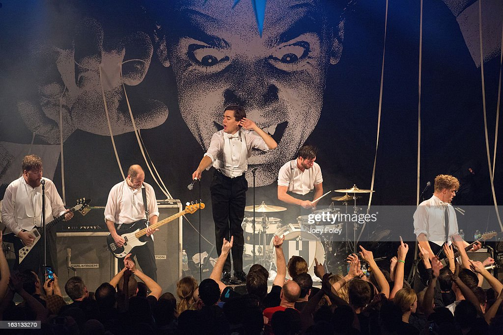 The Hives perform onstage in concert at The Vogue on March 4, 2013 in Indianapolis, Indiana.