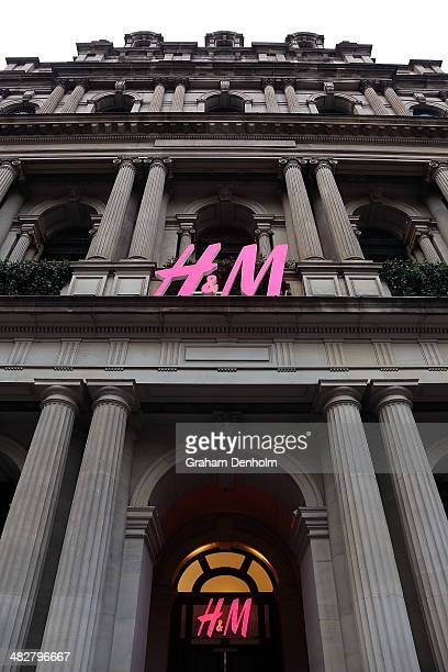 The HM logo is seen on the GPO building at the opening of the first HM Australia store at the GPO on April 5 2014 in Melbourne Australia
