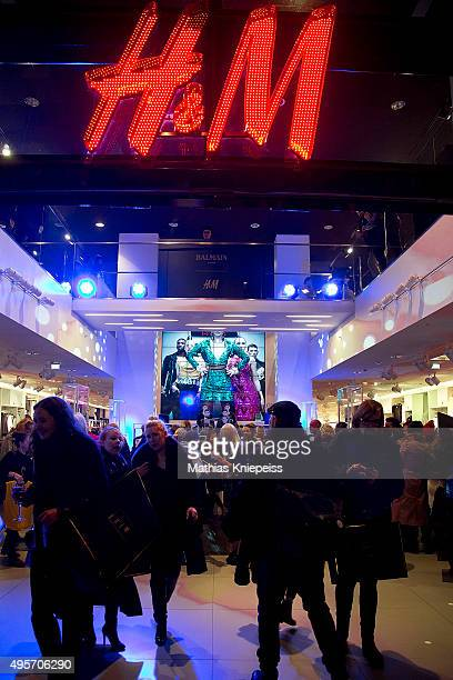 The HM shop entrance is seen during the BALMAIN x HM Vienna Launch Party on November 4 2015 in Vienna Austria