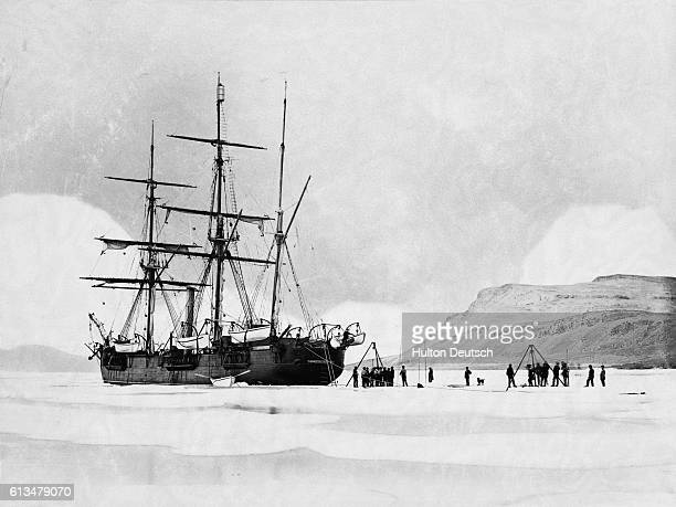 The HMS Alert trapped in ice in the Arctic Circle during Captain George Nares' arctic expedition