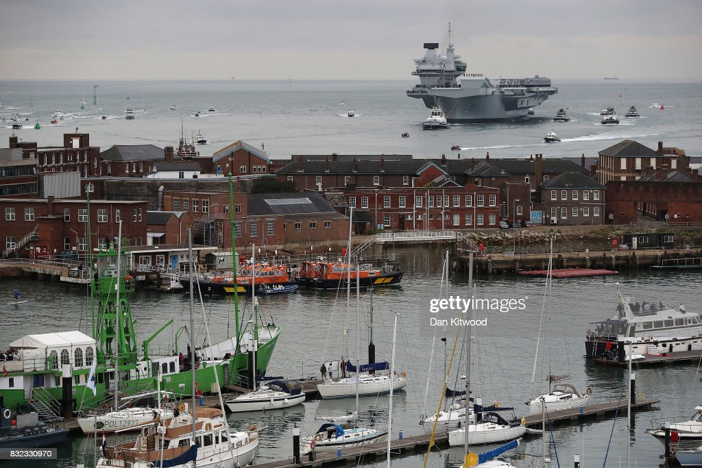 The HMS Queen Elizabeth arrives on August 16, 2017 in Portsmouth, England. The HMS Queen Elizabeth is the lead ship in the new Queen Elizabeth class of supercarriers. Weighing in at 65,000 tonnes she is the largest war ship deployed by the British Royal Navy. She is planned to be in service by 2020 and with a second ship, HMS Prince of Wales, to follow.