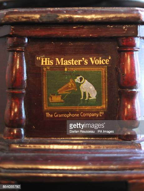 The HMV dog logo on a gramophone
