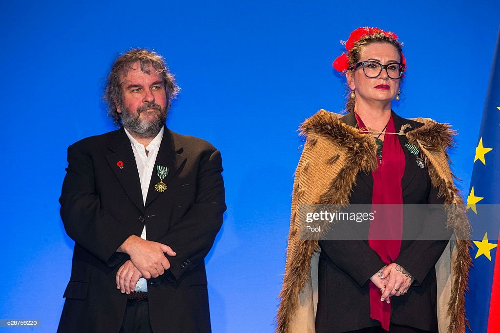 The Hobbit movie maker Peter Jackson and photographer Fiona Pardington applaud French Prime Minister Manuel Valls at the Auckland War Memorial Museum on May 1, 2016 in Auckland, New Zealand. It is the first time in 25 years that a French Prime Minister has visited New Zealand.